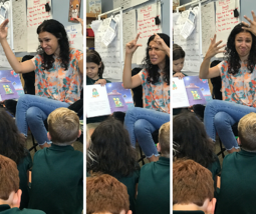 Parent Volunteer reading in Sign Language