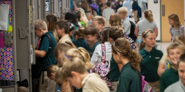 Shorecrest Middle School students at lockers